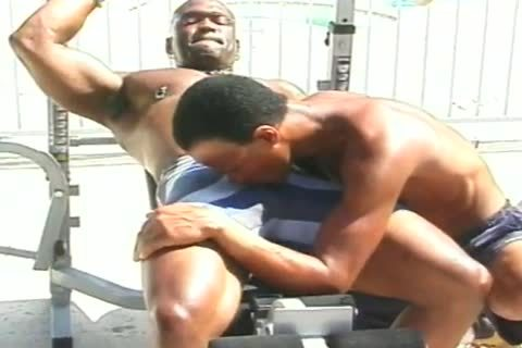Two dark Muscle Hunks poke Poolside After Weightlifting