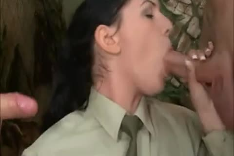brunette hair gal In Al anal three-some With two charming Soldiers