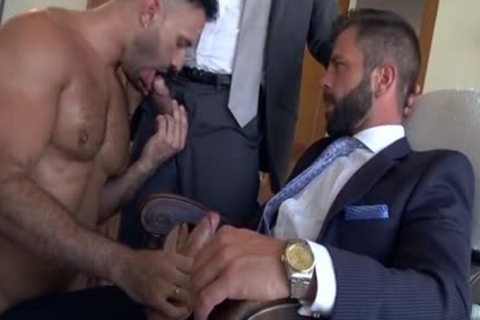 Muscle homosexual three-some And cumshot