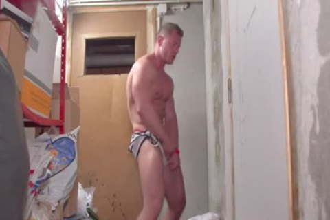 A filthy White pumped up lad Stripping Dance