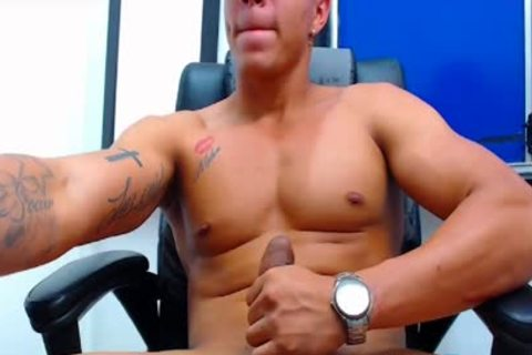 Flirt4Free Latino dude shoots A Load From His Monster rod