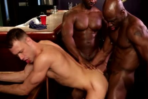 Two Blacks And White Lad Have A Joy A 3some