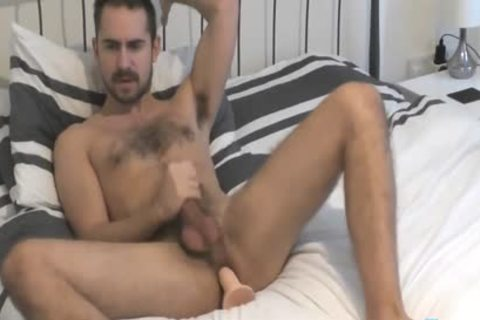 Flirt4Free Model Antonio West - Bearded Lad blows A monstrous Load On His hairy Abs whilst hammering His wazoo
