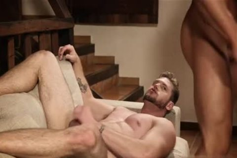Muscle gay three-some With Creampie