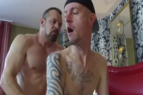 Robert Rexton receive's poked By Muscle Daddy's Max Sargent & Chance Caldwell