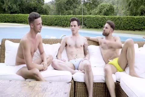 bare POOLSIDE three-some