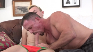 Family Dick: Nervous Ryan Evans private 3some in the bed
