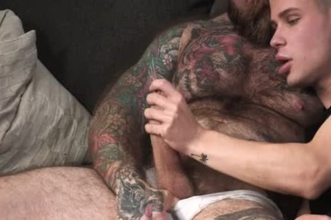 Tattooed Daddy fucks His young Stepson