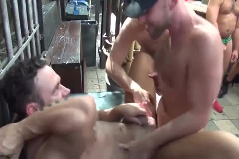 MusclePup Logan Moore gets bunch team-banged Barebacked plow