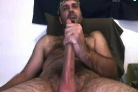 Daddy Bear jerking off His 10 Inches knob And Cumming