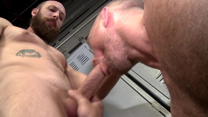 MenOver30: John Magnum with Dustin Steele condom throat fuck