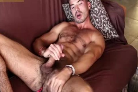 hirsute Chest Hunk Jerking big penis Until that guy Shooting big Load